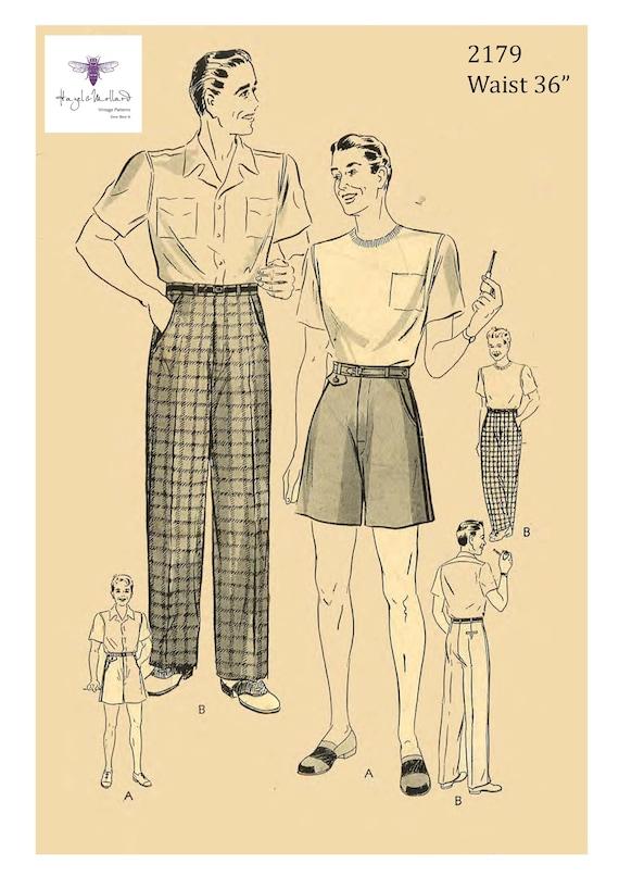 "Vintage 1950s Sewing Pattern Mens Slacks Pants Trousers Shorts Pleats Waist 36/"""