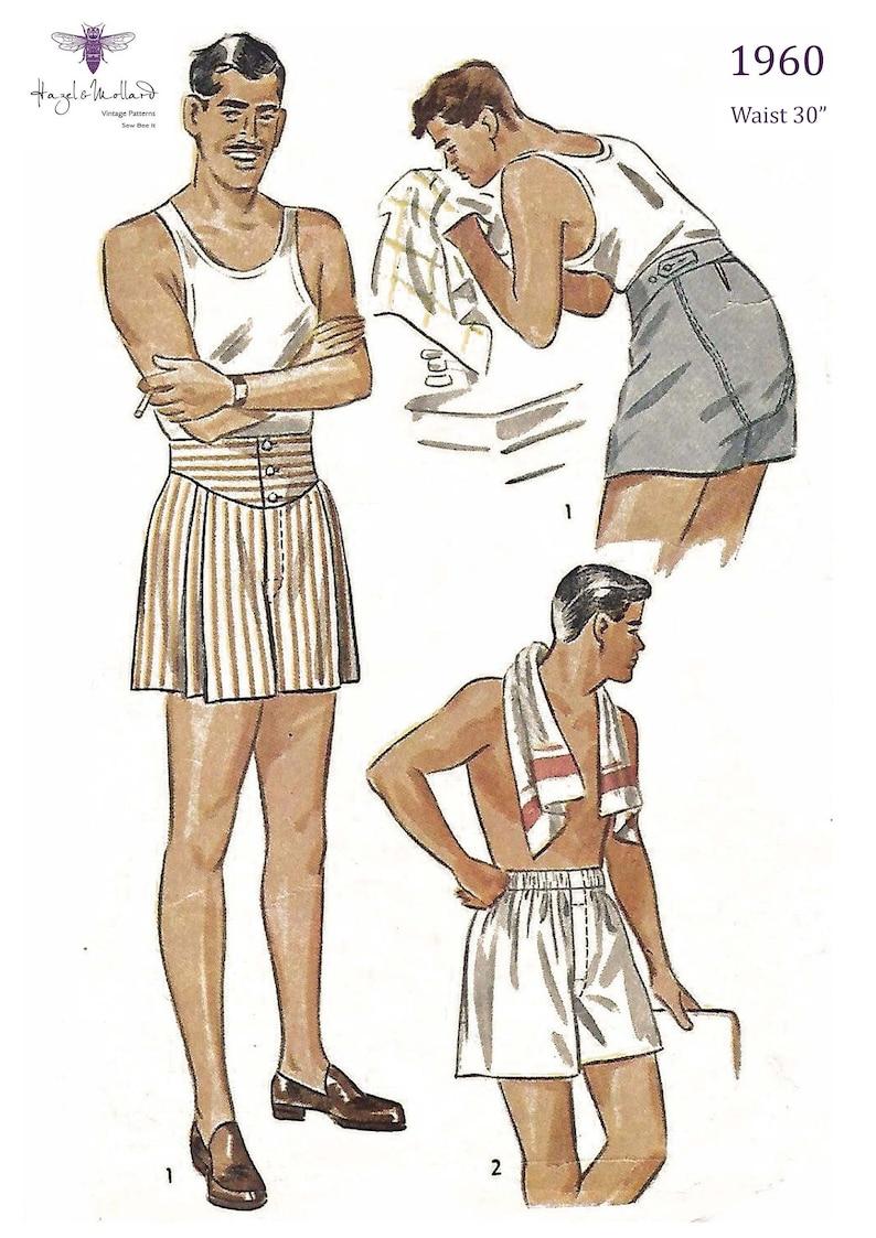 1940s Men's Clothing Vintage 1940s Sewing Pattern Mens Jockey Shorts Boxer Shorts Various Sizes $19.94 AT vintagedancer.com