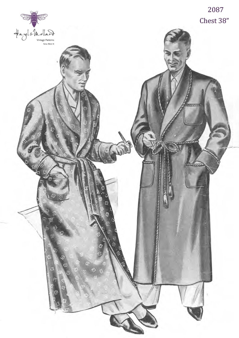 1940s Sewing Patterns – Dresses, Overalls, Lingerie etc 1940s Vintage Sewing Pattern: Mens Dressing Gown Robe Smoking Jacket. Chest 38