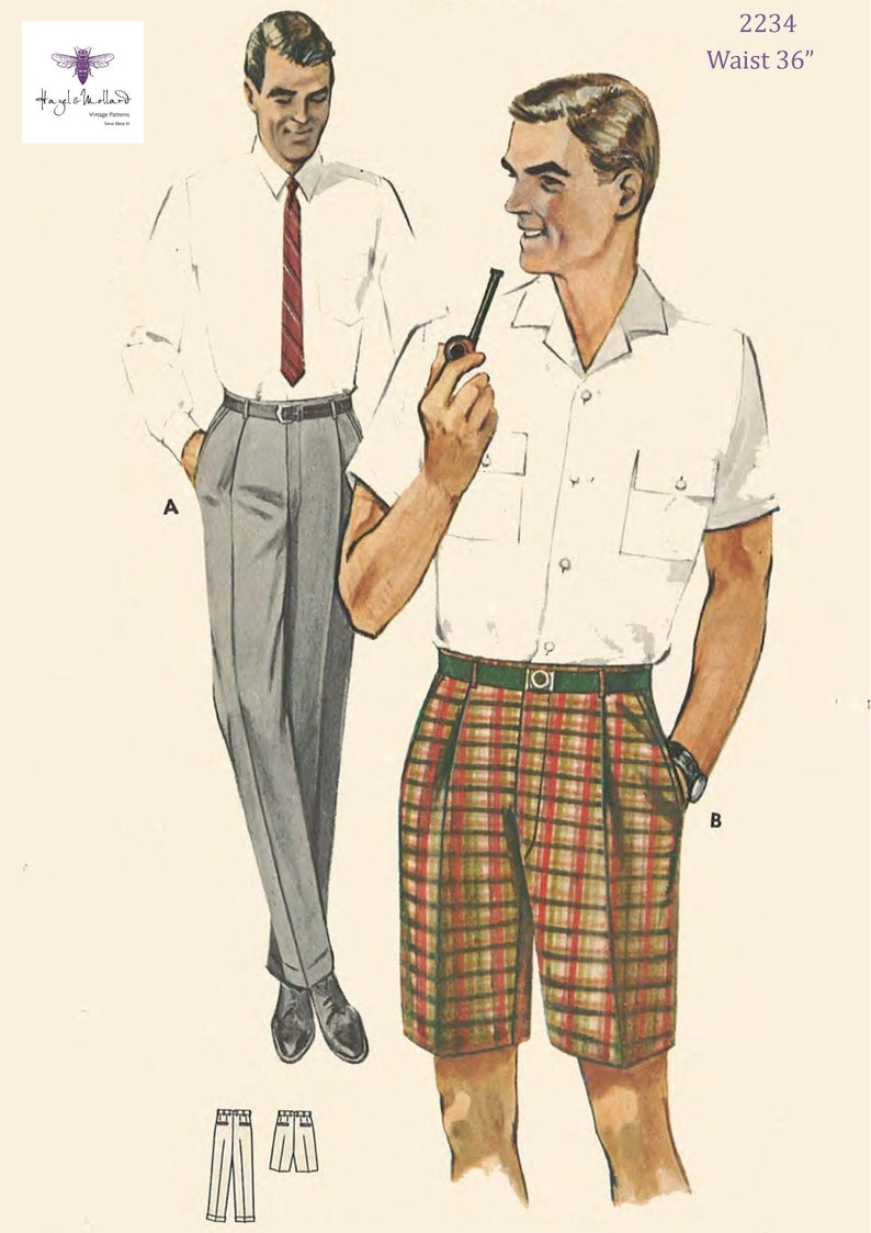 1960s Sewing Patterns | 1970s Sewing Patterns 1950s Mens Trousers and Bermuda Shorts Waist 36