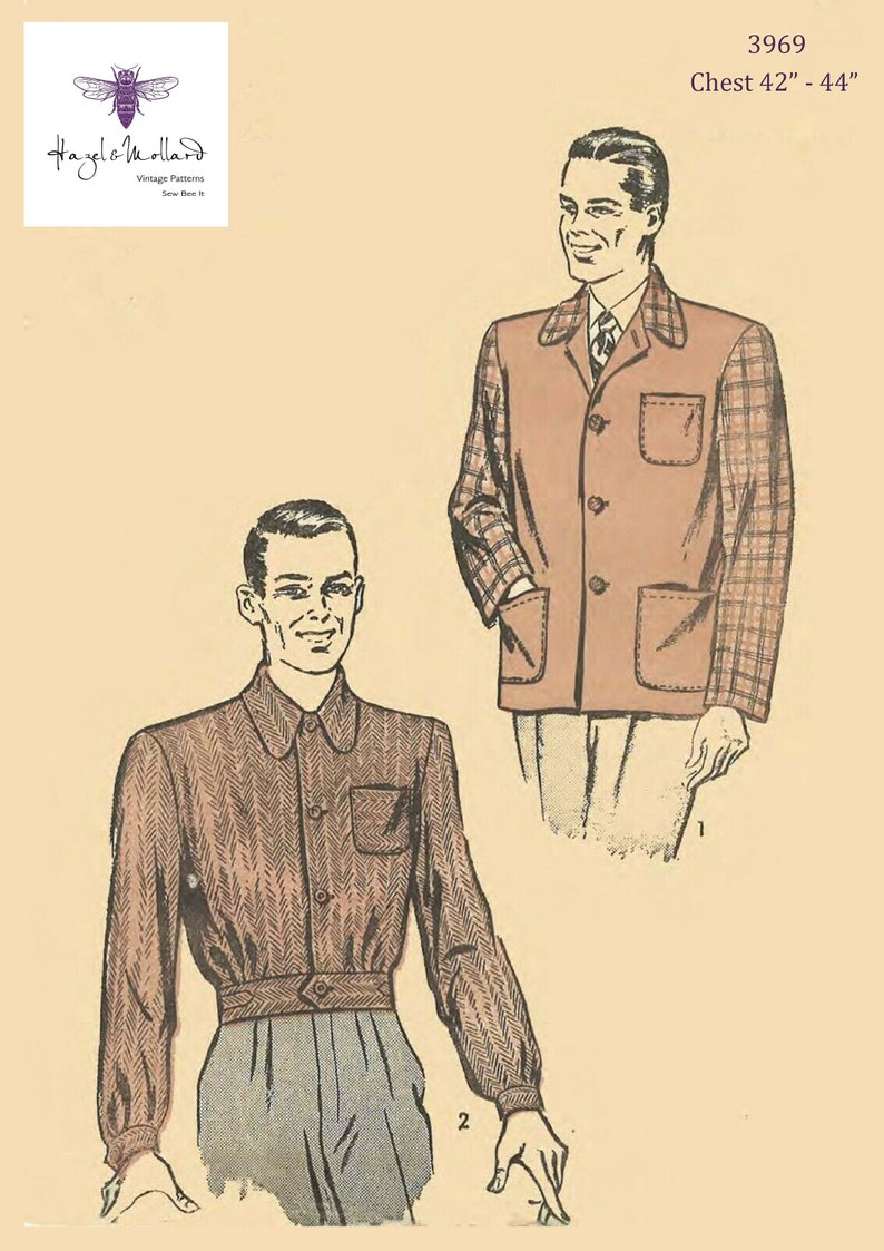 1940s Men's Fashion, Clothing Styles Vintage 1940s Sewing Pattern: Mens Sports Coat & Battle Jacket Chest 42-44