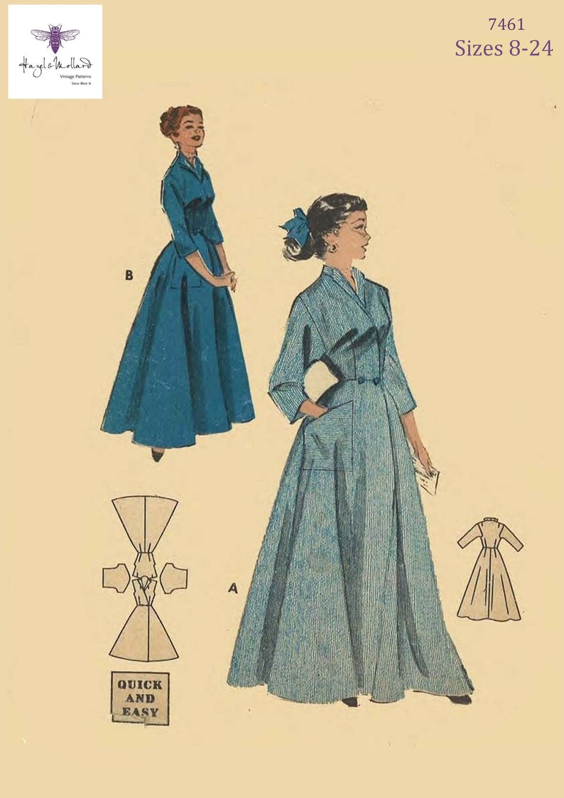 1950s Fabrics & Colors in Fashion 1950s Vintage Inspired Sewing Pattern Housecoat Coachman Robe Dressing Gown NEST of Modern Day Sizes 8-24 PDF Download Print at Home $12.13 AT vintagedancer.com