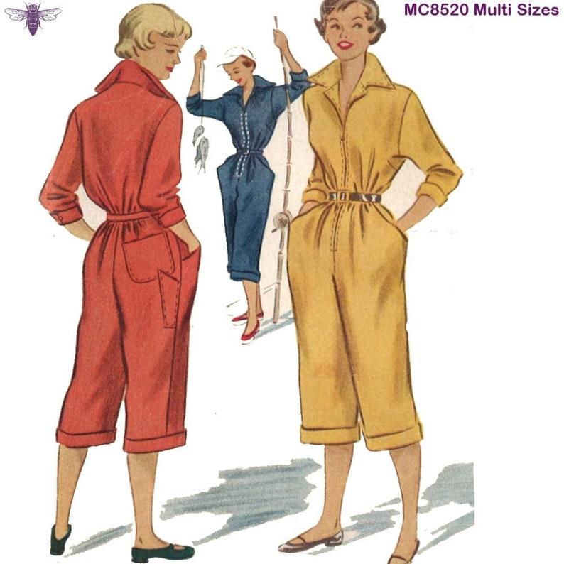 Multi-sizes Vintage 1950/'s Sewing Pattern Pedal Pushers Slacks Overalls Jumpsuit