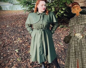 """PDF - 1940s Sewing Pattern: Clara Cape Coat with Detachable Cape - Bust 37-39"""" (94cm-99cm) - Instantly Print at Home"""