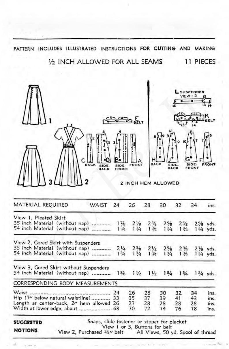"Vintage 1940/'s Sewing Pattern Day Skirt Suspenders Braises WW2 Wartime Waist 24/"""