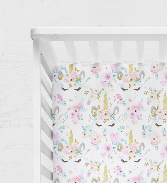 Unicorn Crib Bedding Watercolor Baby Bedding Rainbow