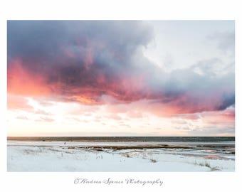 Fiery Sunset at Skaket Beach on Cape Cod Bay. Fine Art Print. Wall Art