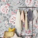 Vintage floral Tapete, Rose Wandbild, Kinderzimmer Tapete, Mädchen, Kinder  Tapete, schälen und Stick Fototapete #68