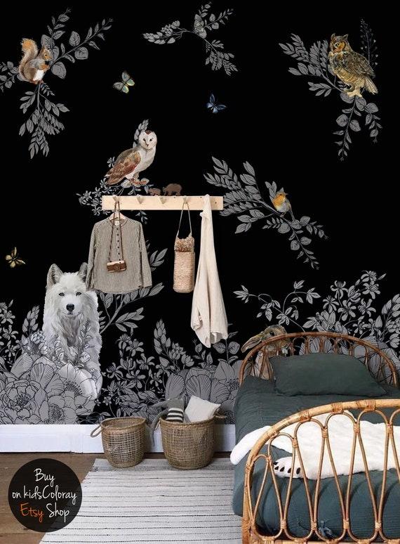 Dark Enchanted Forest Wall Mural Vintage Wild Animals Wallpaper Peel And Stick Fairytale Dark Nursery Black Baby Room Wallpaper 143