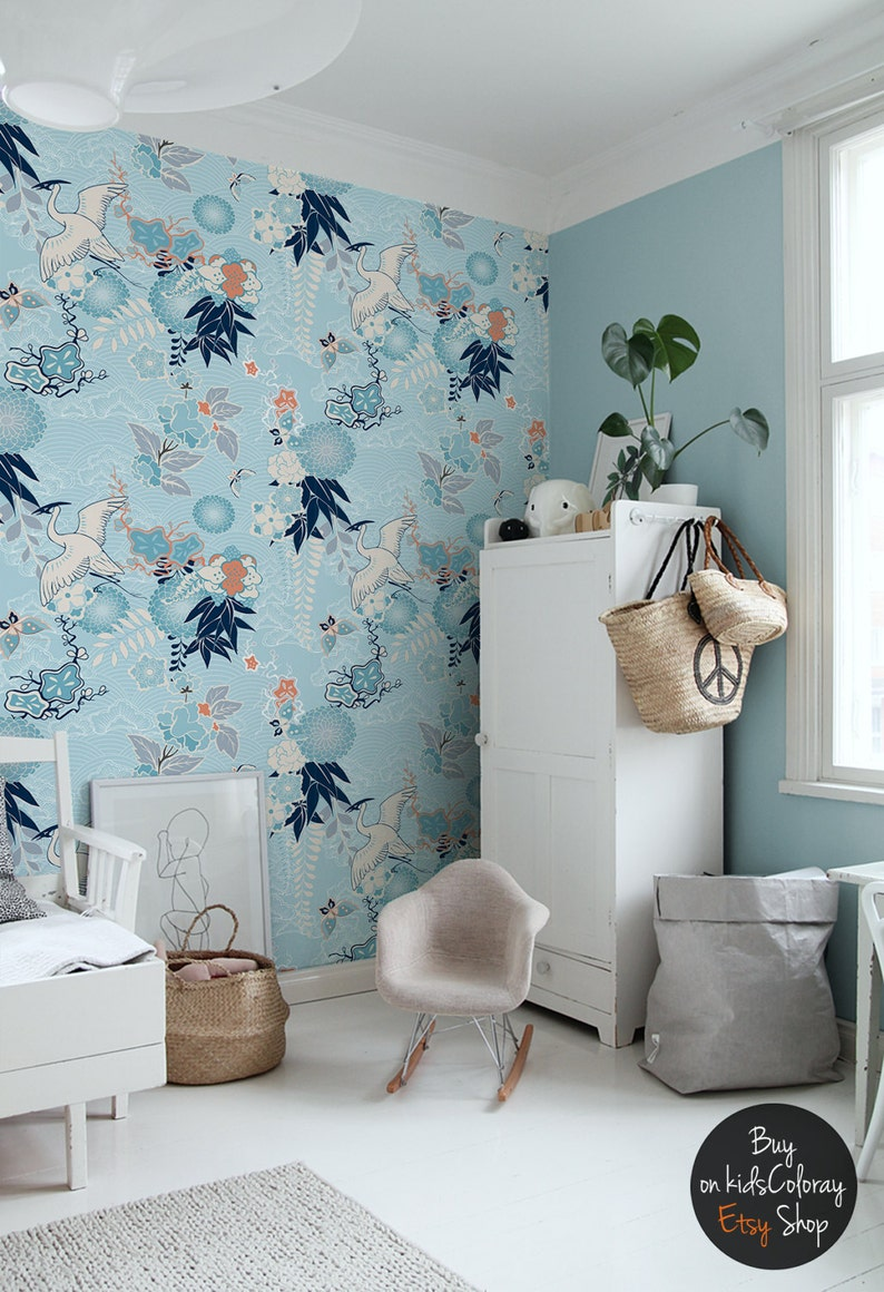 Chinoiserie wallpaper Crane and flowers ...