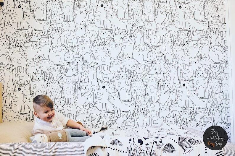 Kinderkamer Patronen Behang : Doodle katten patroon zwart wit behang voor de kinderkamer etsy