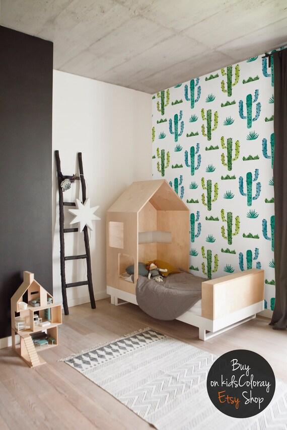 Watercolor Cute Cactus Wallpaper Kids Room Nursery Green   Etsy