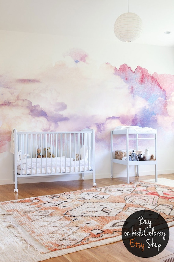 Watercolor Abstract Clouds Wall Mural Soft And Elegant Wallpaper For Nurseries Kids Room Muted Colors Pink And Tender White 17