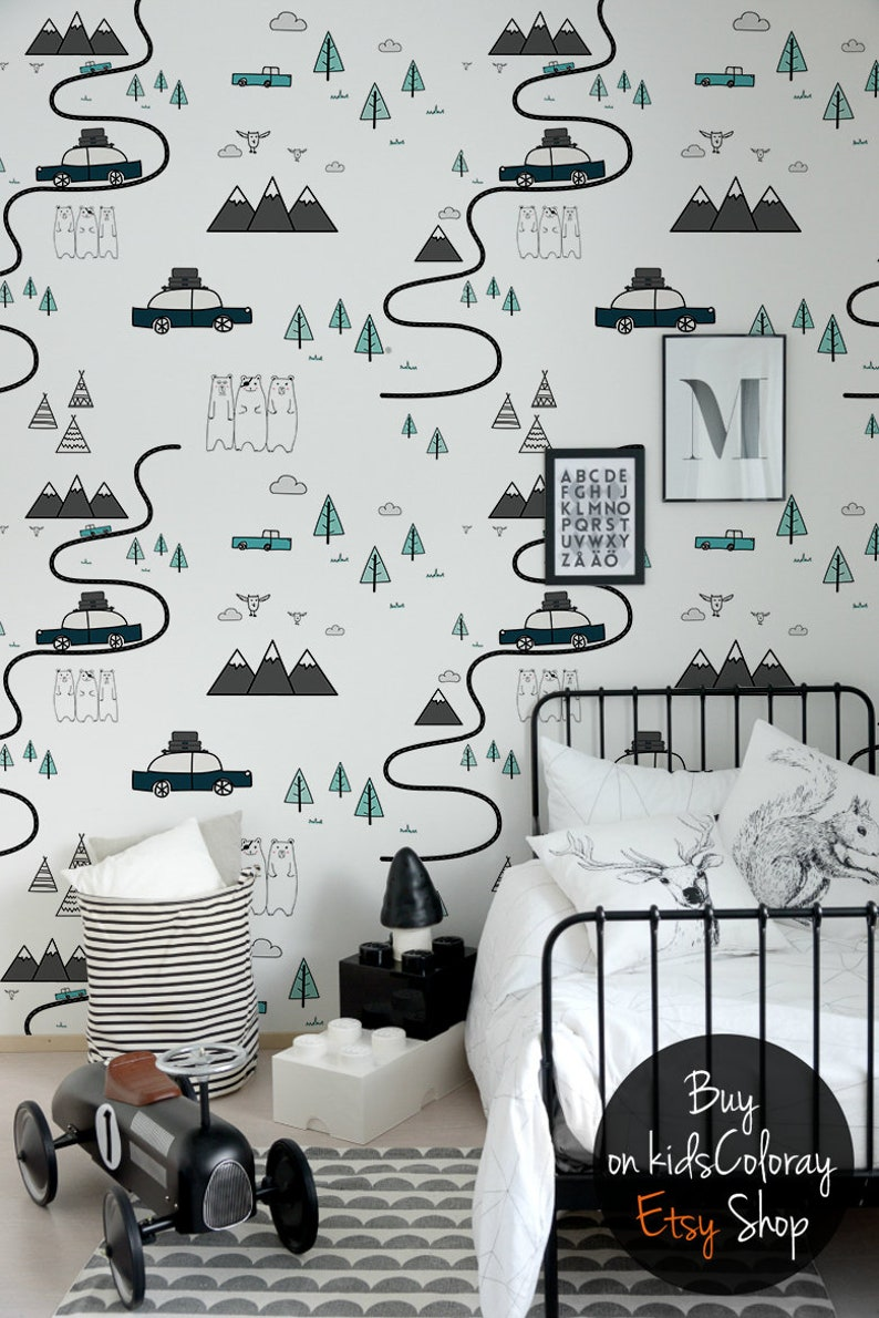Adventure Time Removable Wallpaper || Cars Forest Mountains Bears Patterns  || Repositionable Wallpaper || Kids wallpaper #140