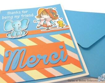 Thank - friendship Rainbow blue and Orange - free shipping