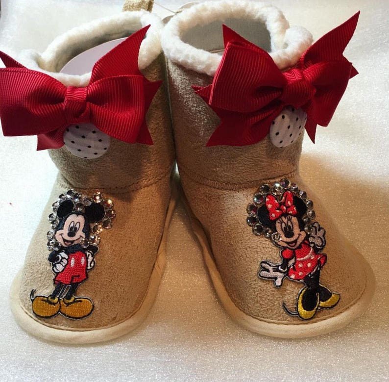 Minnie and Mickey handcrafted booties image 0