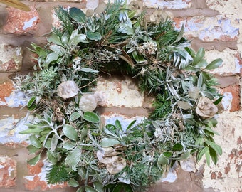 Frost Wreath - Real Christmas Wreath, real, fresh, organic greenery. Traditional Front Door Decoration, cut and custom, handmade to order.