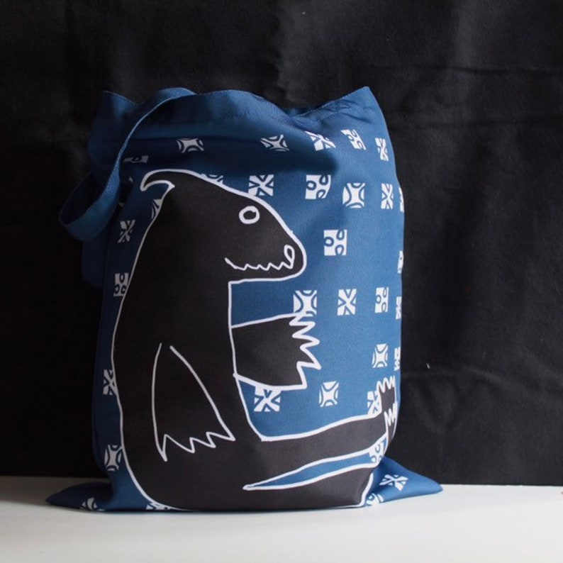 21794668be84 Reusable textile shopping bag with monster print. Dark blue tote bag.  Shoulder bag with monster. Funny grocery bag. Great as a gift.