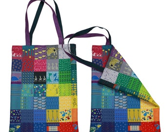 Art tote bag for shopping, as a present or for everyday needs. Unique patchwork style. Over 50 author images!