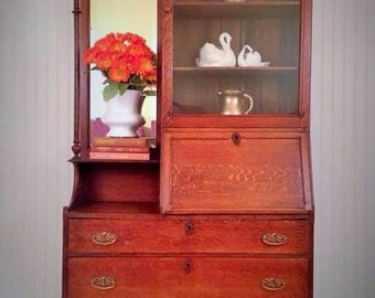 1800u0027s Primitive Antique Secretary Desk Side By Side Bookcase/curio Cabinet