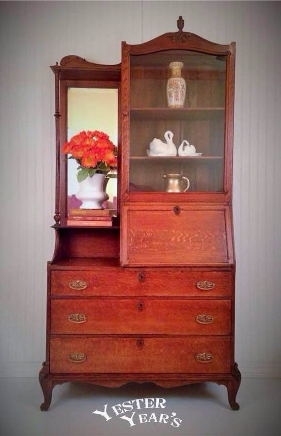 image 0 - 1800's Primitive Antique Secretary Desk Side By Side Etsy