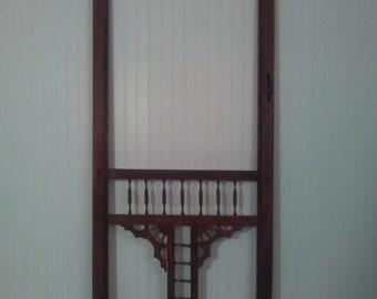 Antique Ornate Wood Screen Door