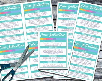 Care Instructions - Print your own! - 4 to a Page! CI005