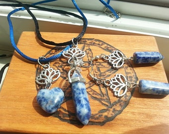 Lotus Flower and Sodalite Jewelry Set - Includes Two Necklaces, and Earrings - 4pcs