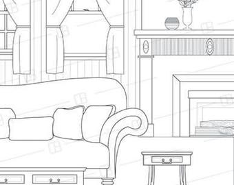 Adult Coloring Book Page Interior Design Traditional Living Room