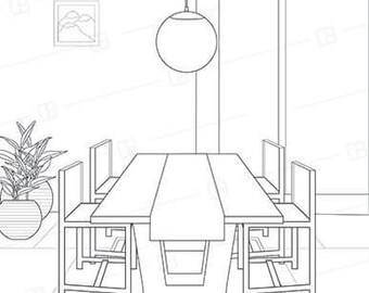 Adult Coloring Book Page Interior Design Modern Dining Room