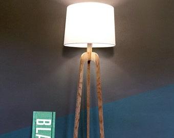Floor Lamp, Danish Modern Tripod Lamp – Oak