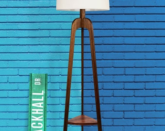 Floor Lamp, Danish Modern Tripod Lamp – With Tray