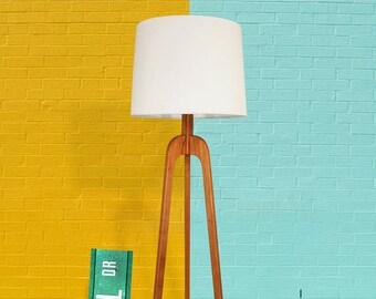 Floor Lamp, Danish Modern Tripod Lamp – Cherry