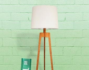 Floor Lamp, Mid-century Modern Tripod Lamp – Cherry