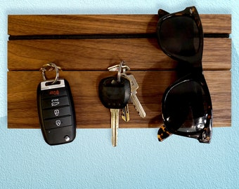 Wall Organizer, Modular Wood Key Hanger & Wallet Holder – All-in-One