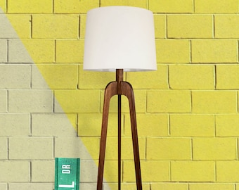 Floor Lamp, Danish Modern Tripod Lamp – Walnut