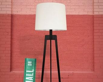 Floor Lamp, Mid-century Modern Tripod Lamp – Shou Sugi Ban