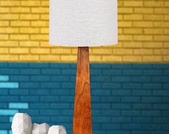 Table Lamp, Small Modern Wood Lamp, Single Wood – Cherry