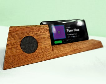 Phone Amplifier, Acoustic Wood Phone Charger – Mahogany