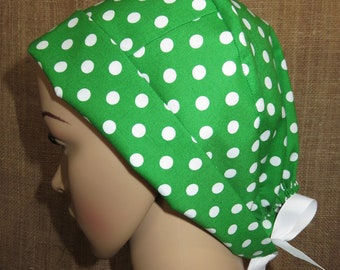 Green with White Polka Dot Pixie Sytle Surgical OR Scrub Hat