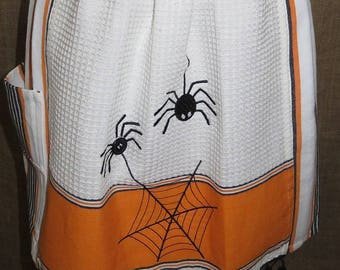 Halloween 2 Cute Lil Spiders Half Apron One of a Kind!
