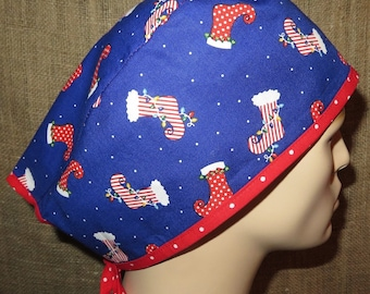 Christmas Stockings Contrasting Trim Classic Tie Surgical Scrub Hat