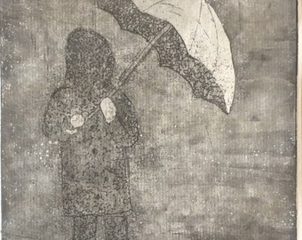 Girl with Umbrella in the Rain - Etching Print