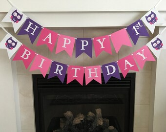 Owl Birthday Banner First 1st Happy Girl Party Decorations Hot Pink Purple Photo Prop