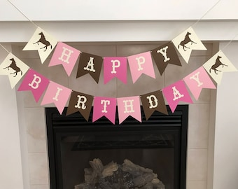 Cowgirl Birthday Banner Happy Party Decorations Girl Themed Photo Prop