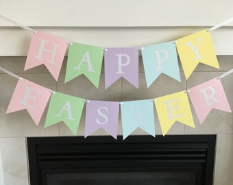 Happy Easter Banner, Pastel Easter Banner, Easter Celebration, Easter Decor, Shimmer Letters, Photo Prop