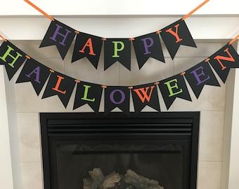 Happy Halloween Banner, Halloween Decoration, Halloween Banner, Purple, Orange, Green, Black, Party Decoration, Photo Prop