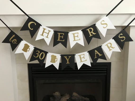 Cheers /& Beers to 30 Years Gold Glitter Banner 30th Birthday Wedding Aniversary Party Supplies Decorations