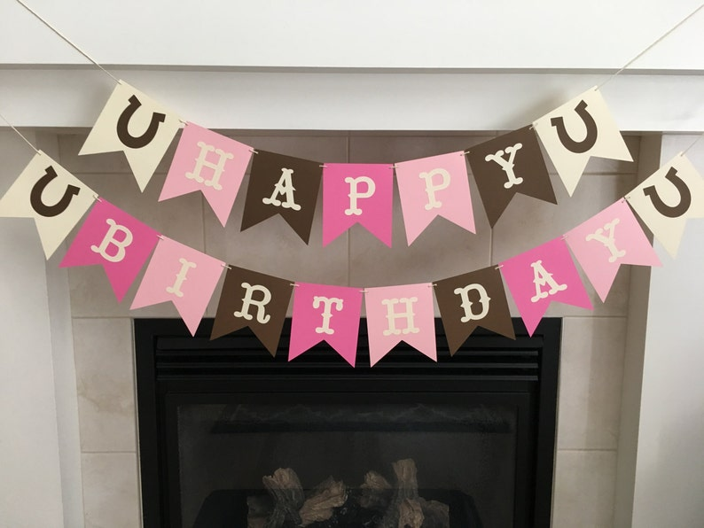 Cowgirl Birthday Banner Happy Party