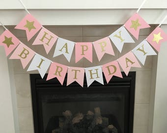 Star Birthday Banner, Happy Birthday Banner, Girl Birthday Banner, Girl Party Decoration, Pink and Gold, Photo Prop, Twinkle Little Star
